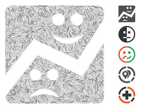 Line Mosaic based on emotion chart icon. Mosaic vector emotion chart is created with randomized line dots. Bonus icons are added. Ilustração