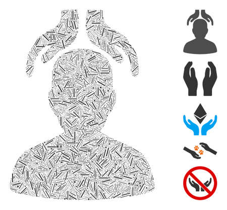 Line Mosaic based on psychiatry hands icon. Mosaic vector psychiatry hands is formed with random line items. Bonus icons are added. Illustration