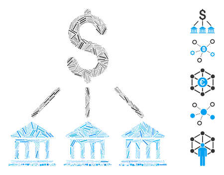 Hatch Mosaic based on bank organization icon. Mosaic vector bank organization is created with random hatch spots. Bonus icons are added.