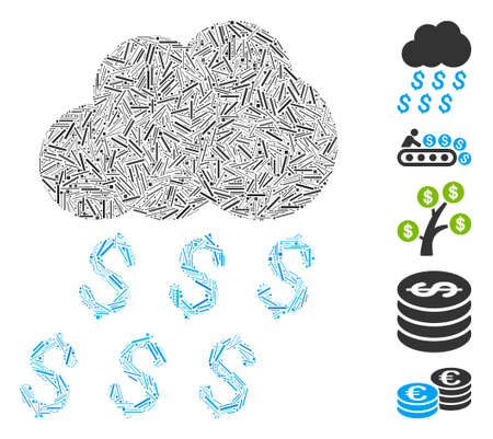 Line Collage based on money rain icon. Mosaic vector money rain is composed with randomized line spots. Bonus icons are added.