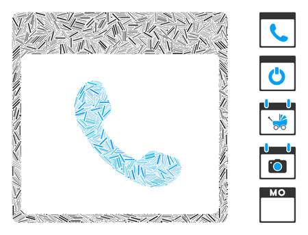 Hatch Mosaic based on phone calendar page icon. Mosaic vector phone calendar page is composed with randomized dash elements. Bonus icons are added.