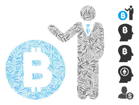 Hatch Mosaic based on Bitcoin banker icon. Mosaic vector Bitcoin banker is composed with random hatch spots. Bonus icons are added.