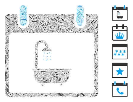 Line Mosaic based on bath calendar day icon. Mosaic vector bath calendar day is created with random line dots. Bonus icons are added. 向量圖像
