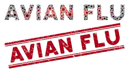 Avian Flu watermark and virus mosaic text. Red vector scratched stamp imprint with Avian Flu caption between parallel lines. Useful for rubber imitations with scratched rubber surface.