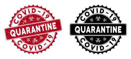 Covid-19 Quarantine stamp. Red vector round grunge stamp imprint with Covid-19 Quarantine caption. Useful for rubber imitations with corroded rubber style.