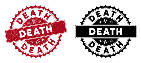 Death seal. Red vector rounded scratched seal with Death text. Designed for rubber imitations with unclean rubber texture.