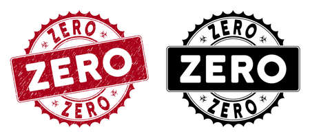 Zero stamp seal. Red vector round textured seal stamp with Zero message. Designed for rubber imitations with dirty rubber texture.