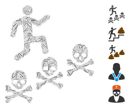 Dash Mosaic based on man steps deaths icon. Mosaic vector man steps deaths is composed with scattered hatch elements. Bonus icons are added. Illustration