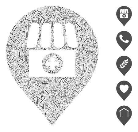 Dash Mosaic based on drugstore marker icon. Mosaic vector drugstore marker is designed with scattered dash spots. Bonus icons are added.