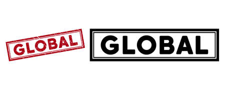 Global seal stamp. Red vector rectangle grunge stamp with Global caption, inside double rectangular frame. Useful for rubber imitations with grunge rubber style. Vektorové ilustrace