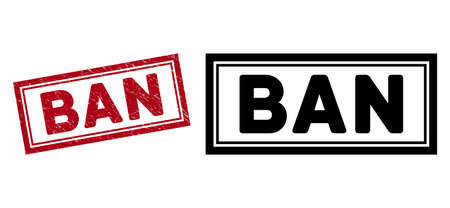 Ban seal stamp. Red vector rectangle grunge seal stamp with Ban phrase, inside double rectangular frame. Designed for rubber imitations with unclean rubber texture.