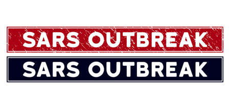 Sars Outbreak stamp seal. Red vector rectangle textured seal stamp with Sars Outbreak caption, with frame. Designed for rubber imitations with dirty rubber surface.