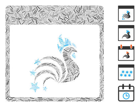 Line Mosaic based on rooster fireworks calendar page icon. Mosaic vector rooster fireworks calendar page is composed with scattered hatch items. Bonus icons are added.