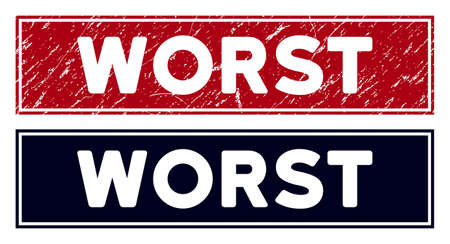 Worst stamp. Red vector rectangular distress stamp with Worst message, with frame. Designed for rubber imitations with distress rubber surface.