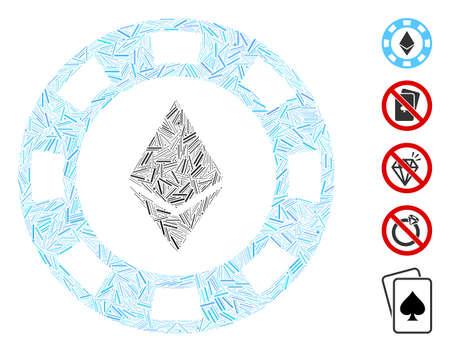 Line Mosaic based on Ethereum casino chip icon. Mosaic vector Ethereum casino chip is created with scattered line dots. Bonus icons are added. Ilustração