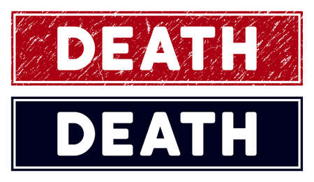 Death stamp seal. Red vector rectangular distress stamp with Death title, with frame. Useful for rubber imitations with distress rubber texture. Illustration