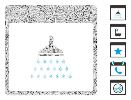 Dash Mosaic based on shower calendar page icon. Mosaic vector shower calendar page is formed with randomized dash dots. Bonus icons are added. 向量圖像