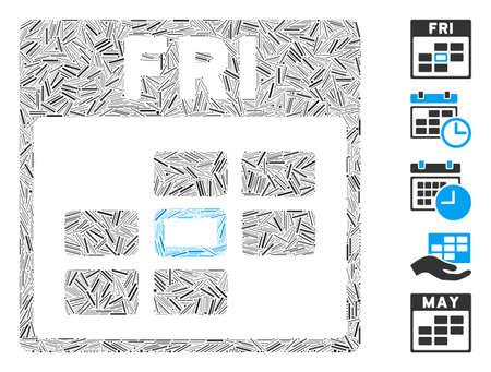 Hatch Mosaic based on Friday calendar grid icon. Mosaic vector Friday calendar grid is formed with random hatch elements. Bonus icons are added.