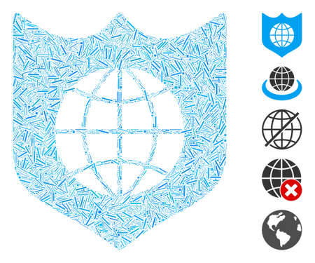 Hatch Mosaic based on global shield icon. Mosaic vector global shield is designed with randomized hatch spots. Bonus icons are added.