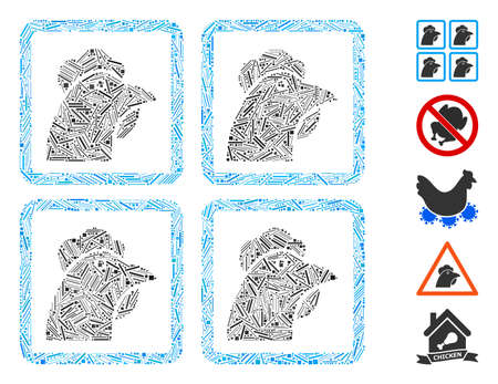 Line Mosaic based on chicken factory icon. Mosaic vector chicken factory is composed with randomized line items. Bonus icons are added. Stok Fotoğraf - 142108357