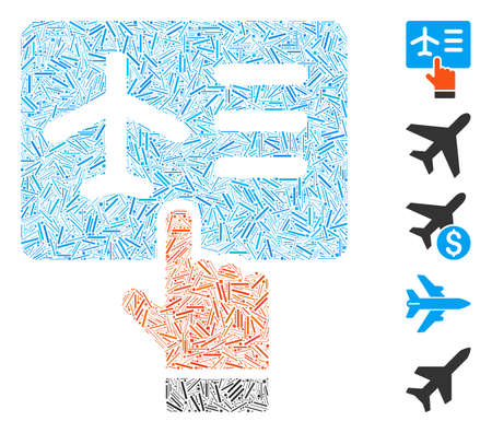 Hatch Mosaic based on airline ticket booking icon. Mosaic vector airline ticket booking is created with random hatch elements. Bonus icons are added.