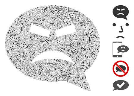 Hatch Mosaic based on furious smiley message icon. Mosaic vector furious smiley message is designed with random hatch elements. Bonus icons are added. Ilustração
