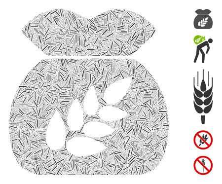 Dash Mosaic based on grain harvest sack icon. Mosaic vector grain harvest sack is designed with scattered dash items. Bonus icons are added.