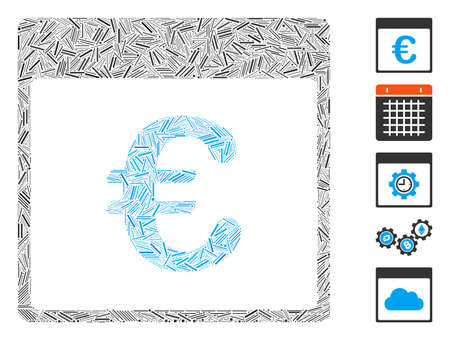 Dash Mosaic based on Euro currency calendar page icon. Mosaic vector Euro currency calendar page is created with random dash elements. Bonus icons are added.
