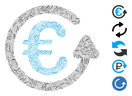 Hatch Mosaic based on Euro chargeback icon. Mosaic vector Euro chargeback is designed with scattered hatch dots. Bonus icons are added. 矢量图像