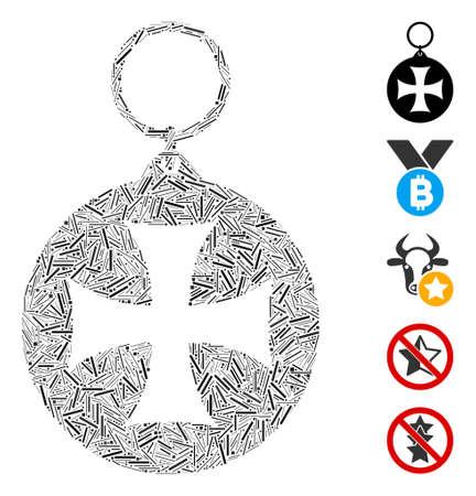 Dash Mosaic based on Maltese cross medal icon. Mosaic vector Maltese cross medal is designed with scattered dash items. Bonus icons are added. Illustration