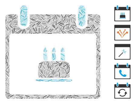 Line Collage based on birthday cake calendar day icon. Mosaic vector birthday cake calendar day is created with randomized line items. Bonus icons are added. 向量圖像