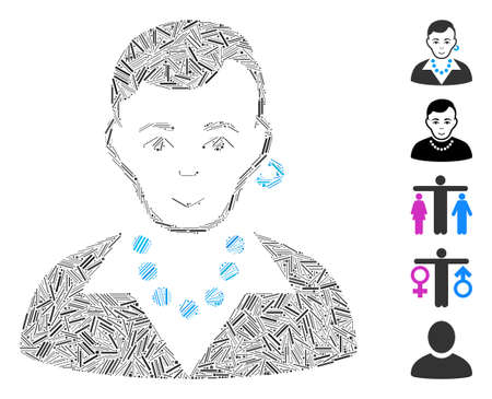 Line Mosaic based on trendy gay icon. Mosaic vector trendy gay is designed with random line dots. Bonus icons are added.