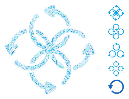 Line Mosaic based on knot rotation icon. Mosaic vector knot rotation is composed with randomized line elements. Bonus icons are added. Vector Illustratie
