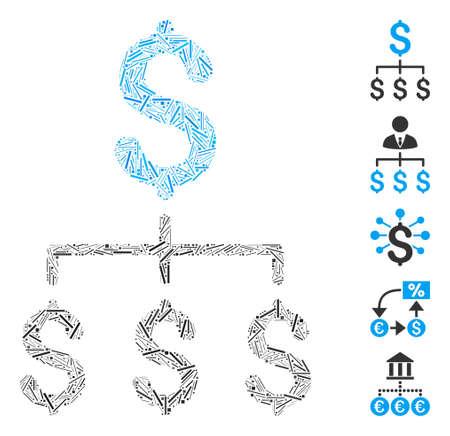 Dash Mosaic based on financial hierarchy icon. Mosaic vector financial hierarchy is created with randomized dash spots. Bonus icons are added.