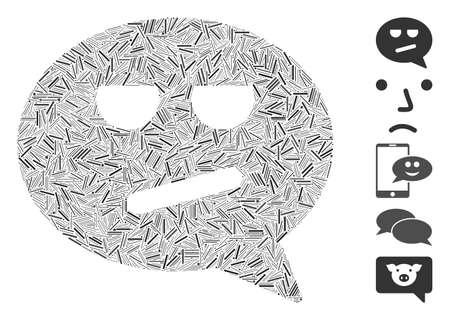 Line Mosaic based on bored smiley message icon. Mosaic vector bored smiley message is formed with random line elements. Bonus icons are added.