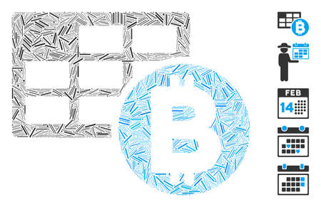 Dash Mosaic based on Bitcoin table icon. Mosaic vector Bitcoin table is composed with random dash items. Bonus icons are added. 向量圖像