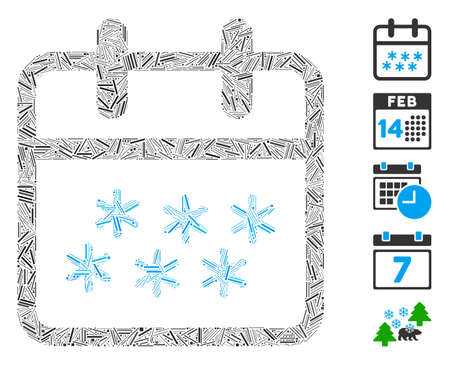 Hatch Mosaic based on winter day icon. Mosaic vector winter day is created with random hatch elements. Bonus icons are added. 向量圖像
