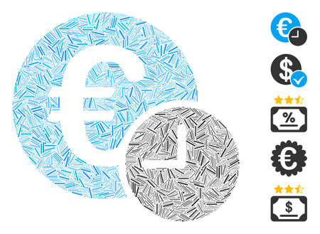 Dash Mosaic based on Euro credit icon. Mosaic vector Euro credit is composed with randomized dash items. Bonus icons are added.