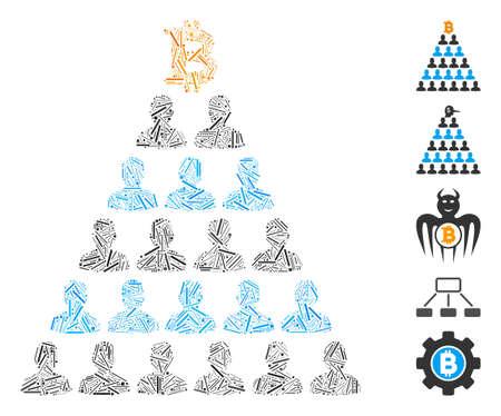 Hatch Mosaic based on Bitcoin Ponzi pyramid icon. Mosaic vector Bitcoin Ponzi pyramid is formed with randomized hatch items. Bonus icons are added. Vettoriali