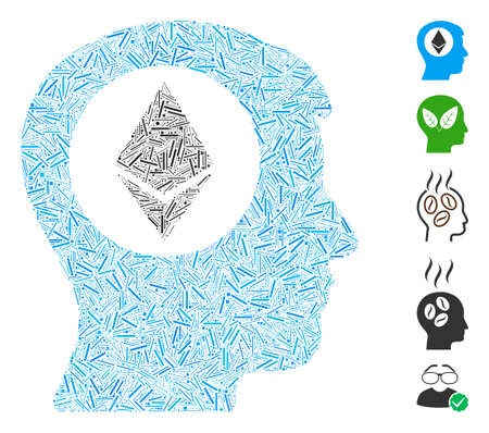 Hatch Mosaic based on Ethereum mind icon. Mosaic vector Ethereum mind is designed with scattered hatch spots. Bonus icons are added. Ilustracja