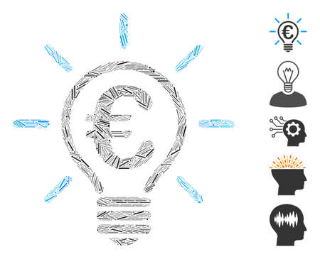 Hatch Mosaic based on Euro idea bulb icon. Mosaic vector Euro idea bulb is composed with randomized hatch dots. Bonus icons are added.