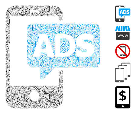 Line Mosaic based on mobile ads icon. Mosaic vector mobile ads is formed with randomized line elements. Bonus icons are added. Illustration