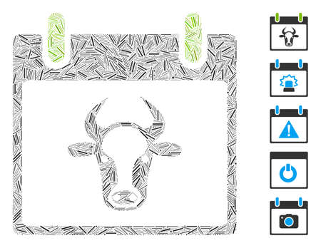 Hatch Mosaic based on cow calendar page icon. Mosaic vector cow calendar page is formed with random hatch items. Bonus icons are added. 向量圖像