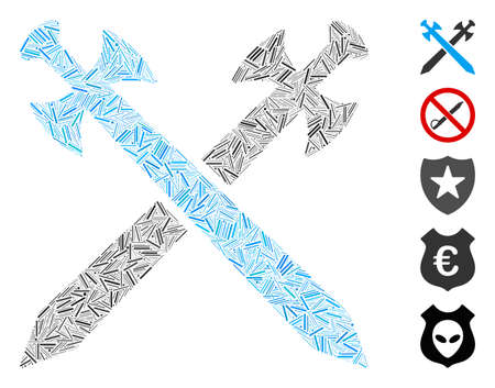 Line Mosaic based on swords icon. Mosaic vector swords is created with random line elements. Bonus icons are added.