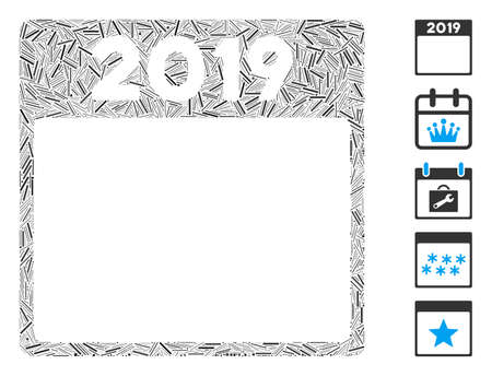 Line Mosaic based on 2019 year calendar page icon. Mosaic vector 2019 year calendar page is created with randomized line elements. Bonus icons are added. 向量圖像
