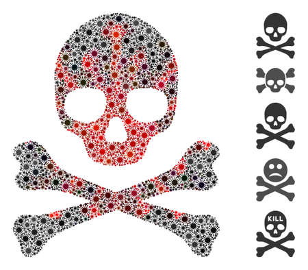 Coronavirus collage death skull icon. Mosaic vector is created with death skull icon and with random sars symbols. Red and black coronavirus elements are used.