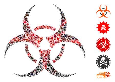 Coronavirus mosaic bio hazard icon. Mosaic vector is formed with bio hazard pictogram and with random bacterium icons. Red and black coronavirus items are used.