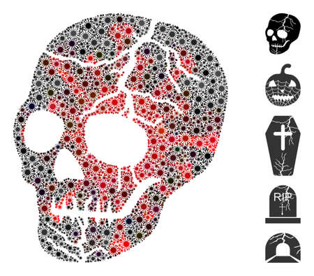 Coronavirus mosaic old skull icon. Mosaic vector is formed with old skull icon and with scattered microbe cell elements. Red and black coronavirus items are used. Ilustração