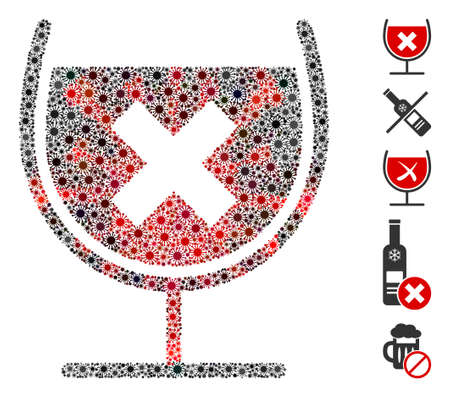 Coronavirus mosaic stop drink wine icon. Mosaic vector is formed with stop drink wine icon and with scattered bacillus items. Red and black coronavirus items are used.