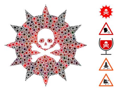 Coronavirus collage viral toxin icon. Mosaic vector is formed with viral toxin icon and with scattered virus elements. Red and black virus elements are used. Ilustração